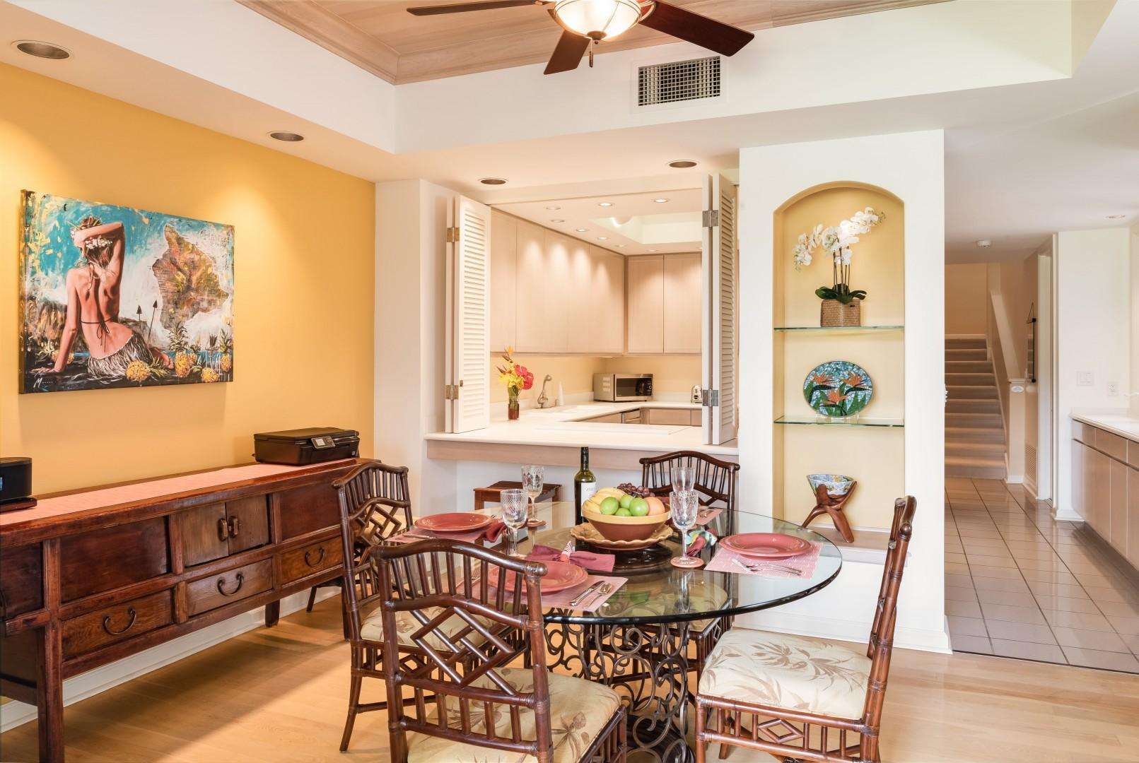Dining Room w/ Additional Seating for Six Opens Into Kitchen via Breakfast Bar