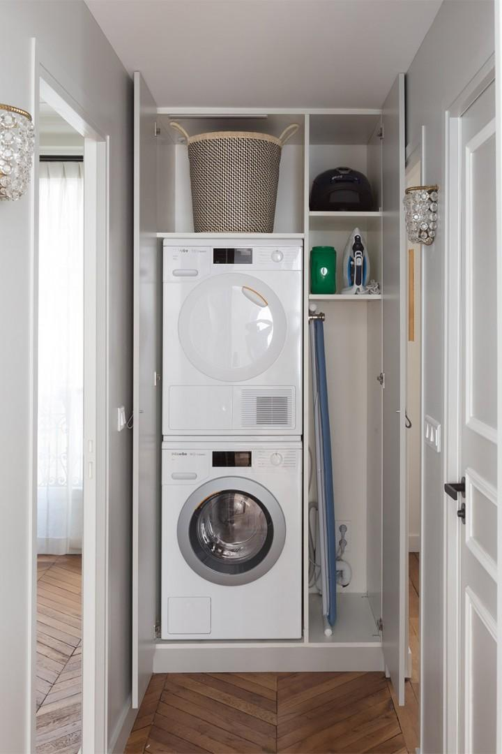 Laundry facilities are hidden in the closet between bedroom 2 and 3.