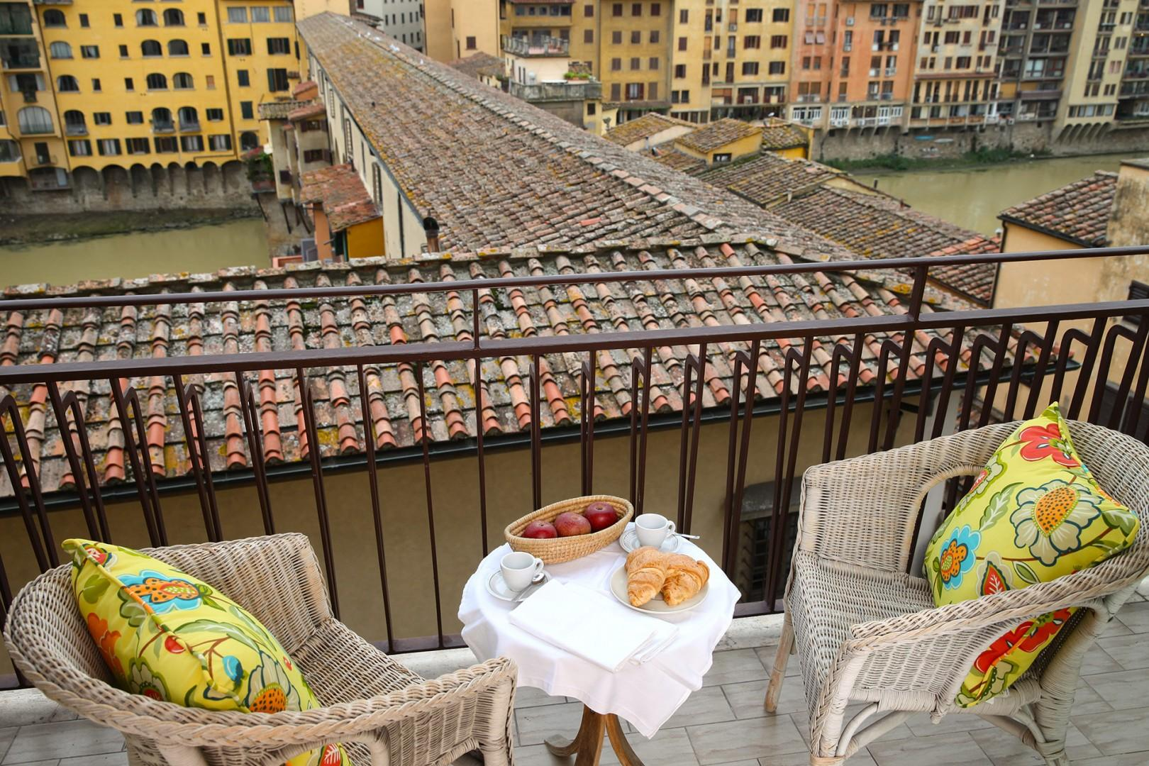 This will be your view standing on the terrace, the Ponte Vecchio is below.