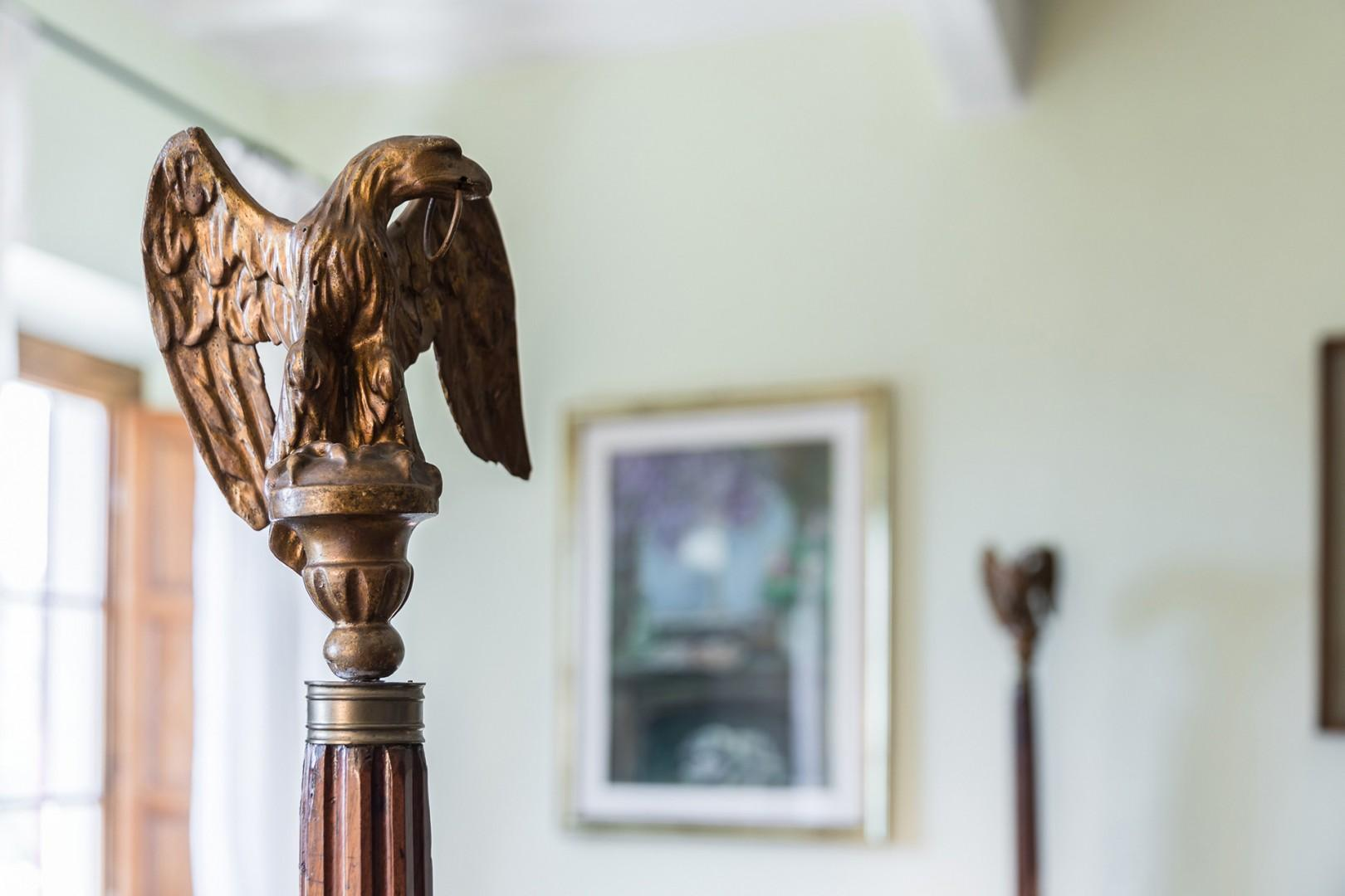 The original bedstead. Each column is topped by an eagle.