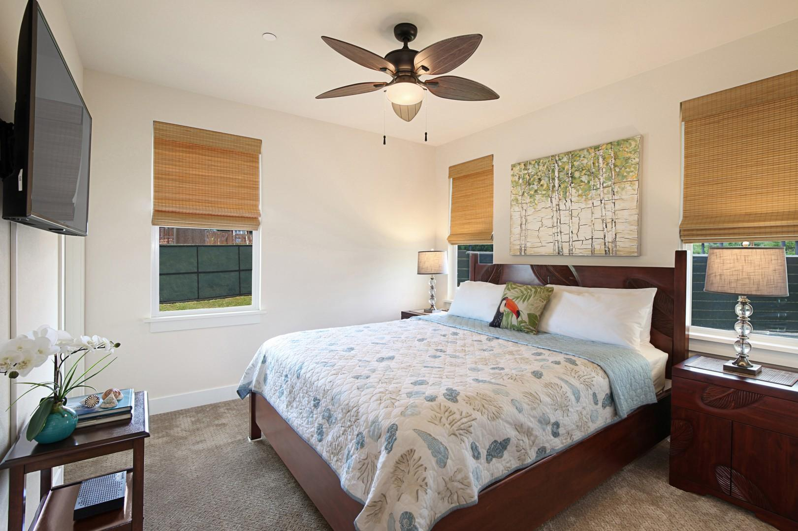 Downstairs en suite bedroom with TV