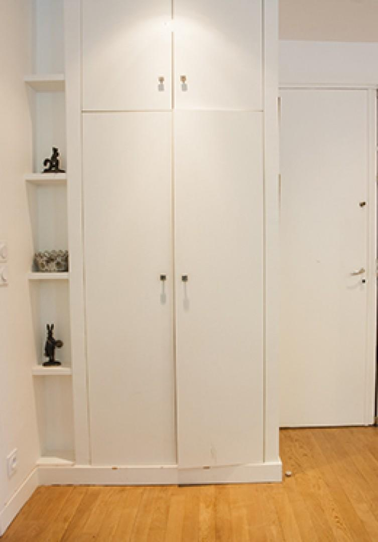Hang your coats and store other belongings in the large closet.