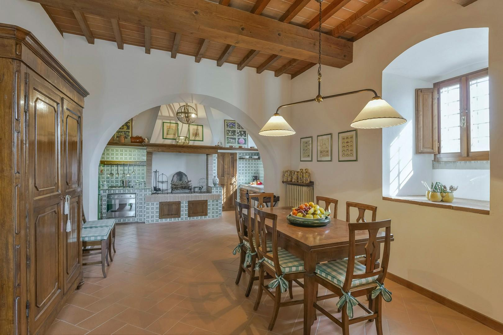 Fully equipped eat-in Tuscan style kitchen.