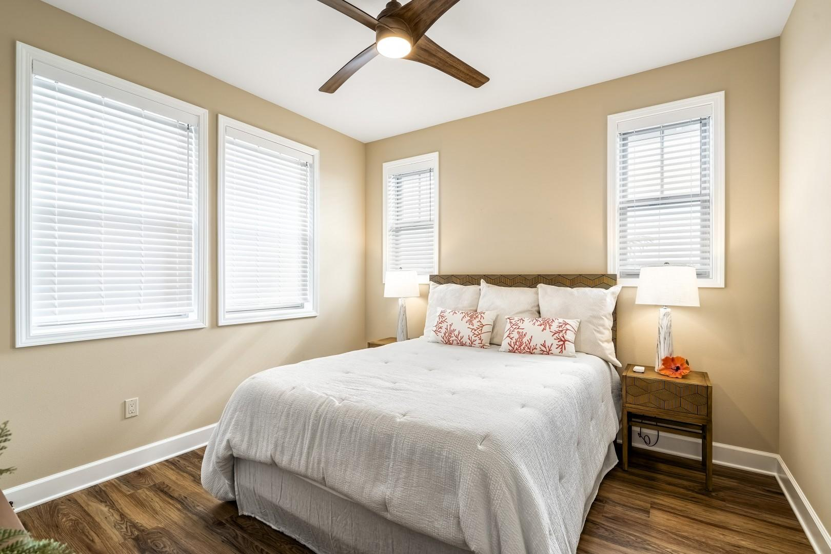 Upstairs guest bedroom equipped with Queen bed