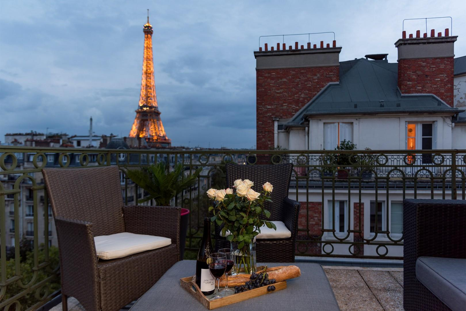 Enjoy amazing Eiffel Tower views right from your balcony.