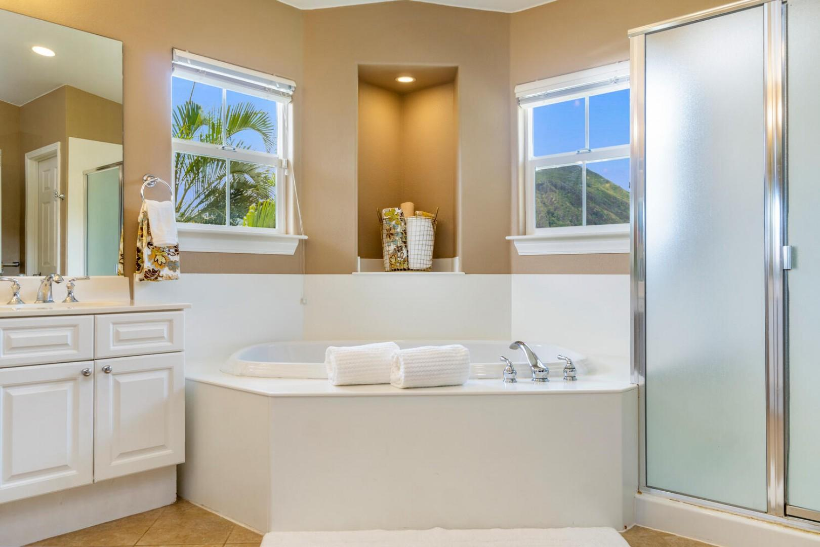 Master Ensuite with tub and separate shower