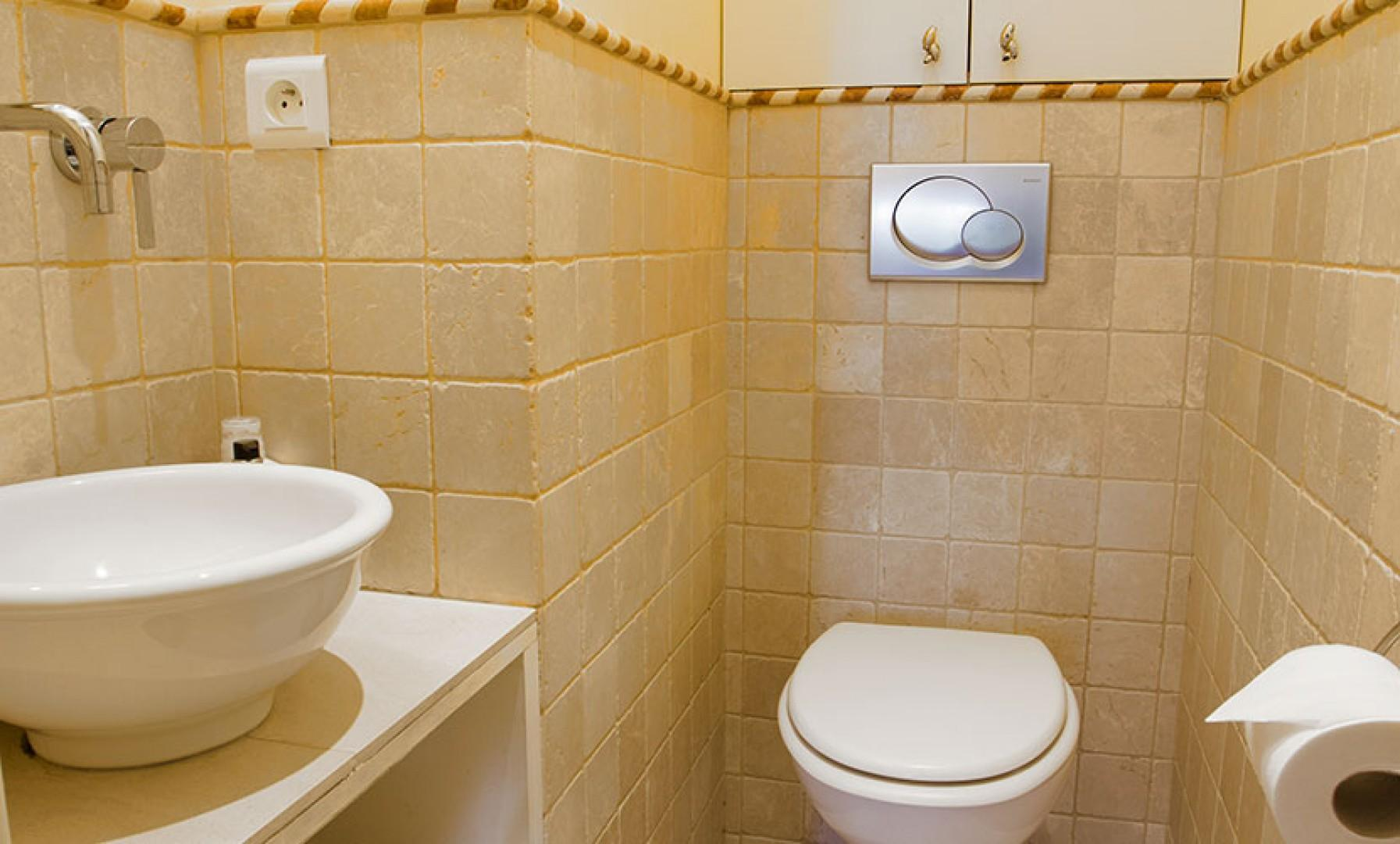 The half bath provides an extra space for getting ready.