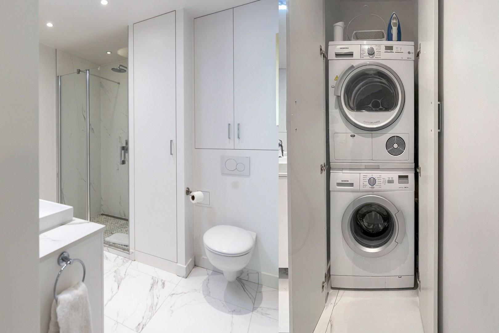 The washer and dryer are conveniently located in bathroom 1