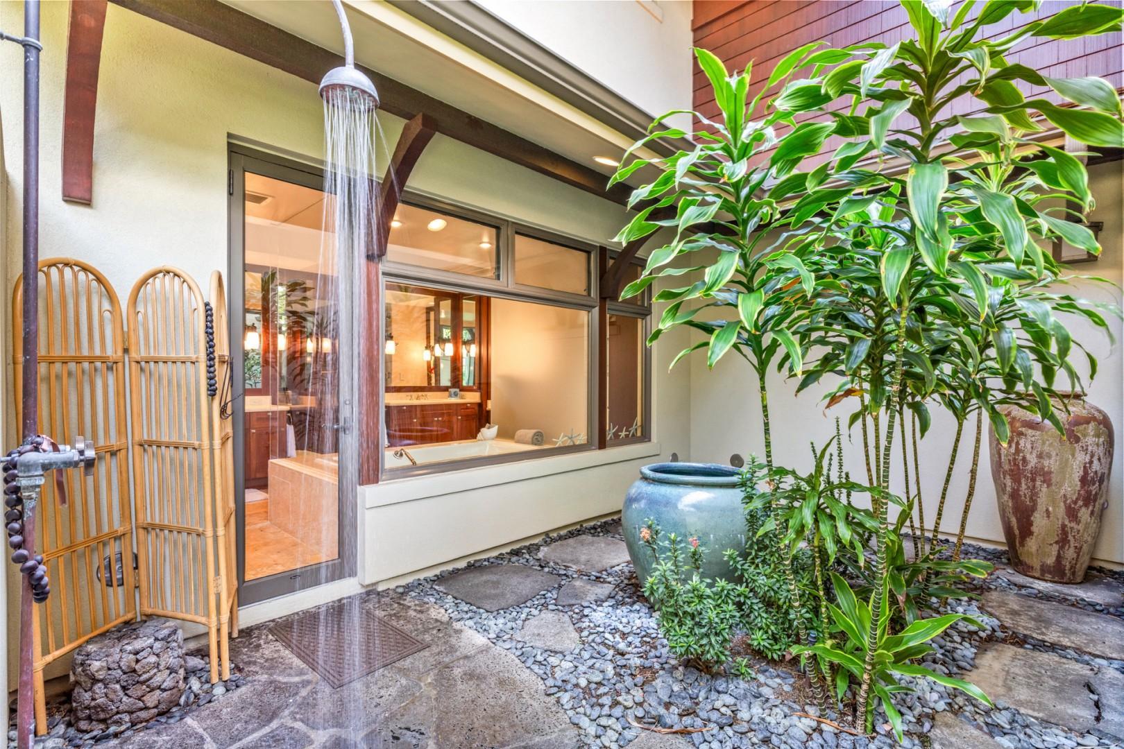 Outdoor shower garden off master bath - a tropical treat!
