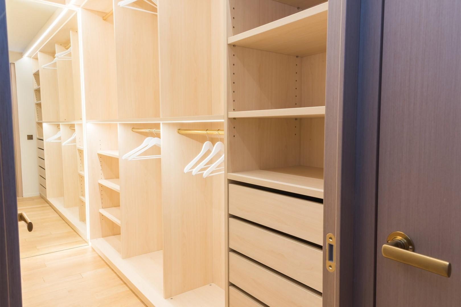 There is a practical walk-in closet connected to bedroom 2.