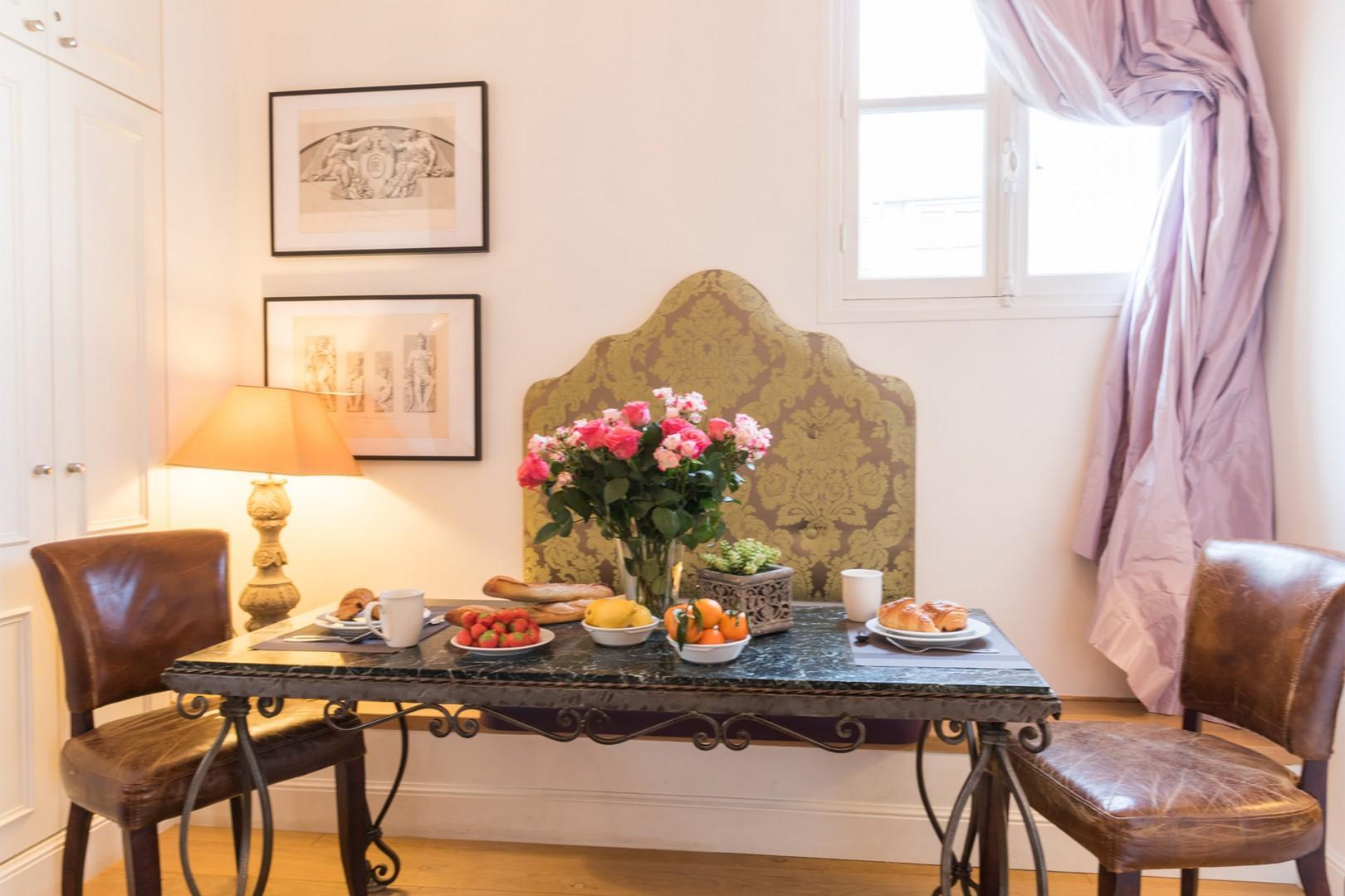 Enjoy the Venetian-style dining area.