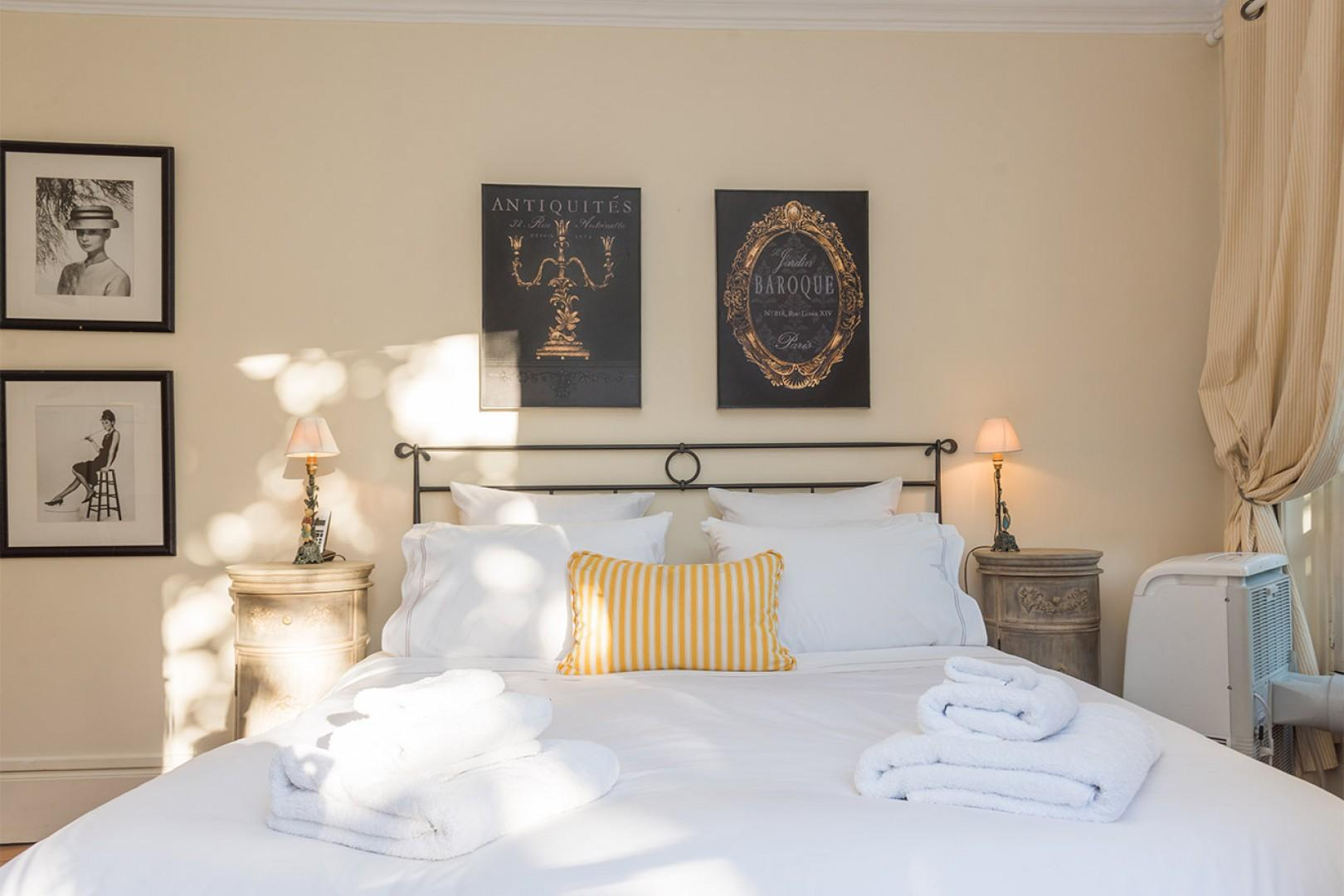 Sink into the comfortable bed for a good night's sleep.
