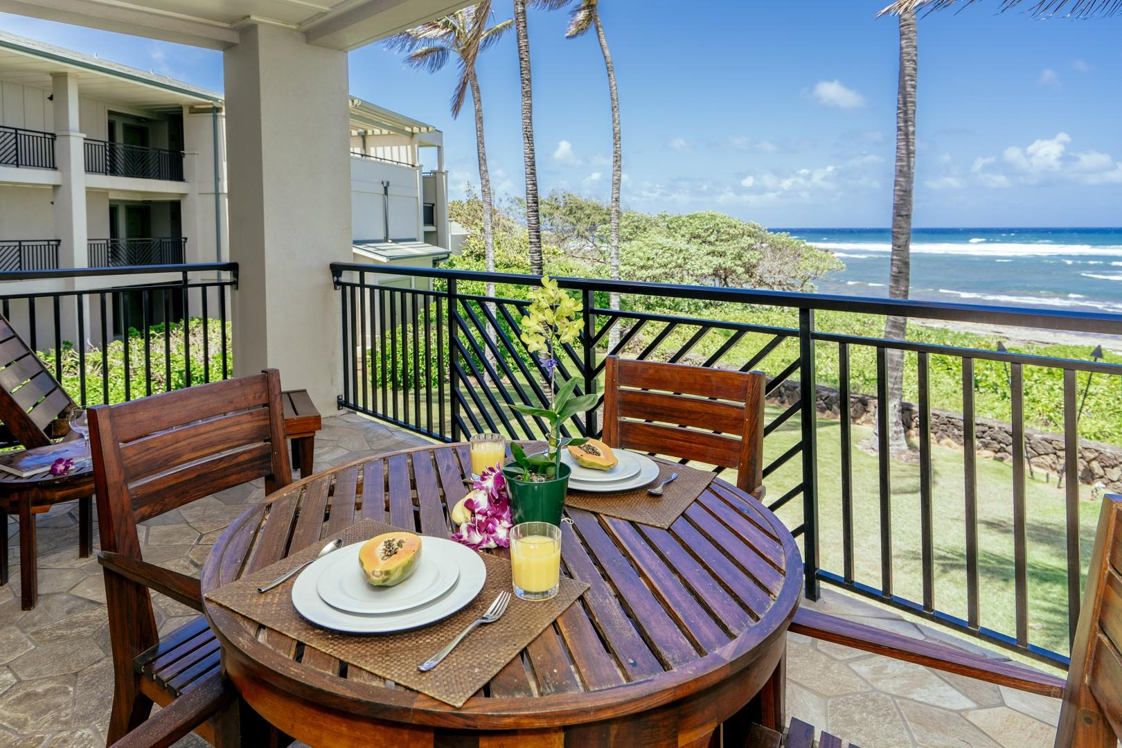 Enjoy ocean-front dining right on your lanai.
