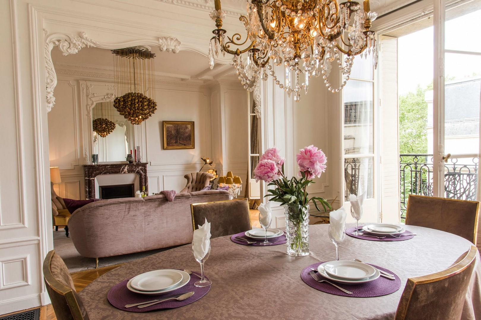 Enjoy dinner at home in this elegant space that rival any restaurant.