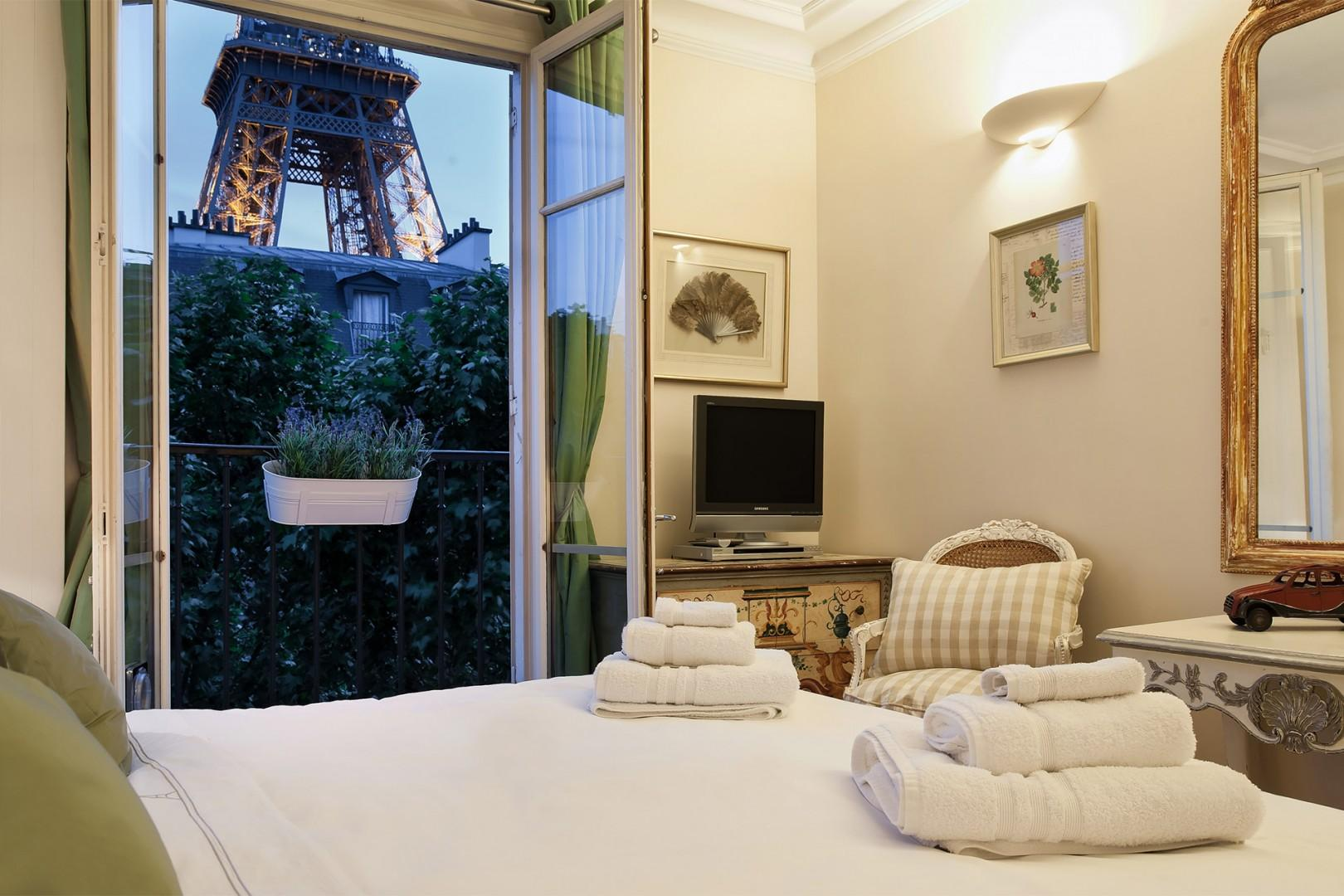 The apartment has been featured in magazines thanks to its spectacular Eiffel Tower views.