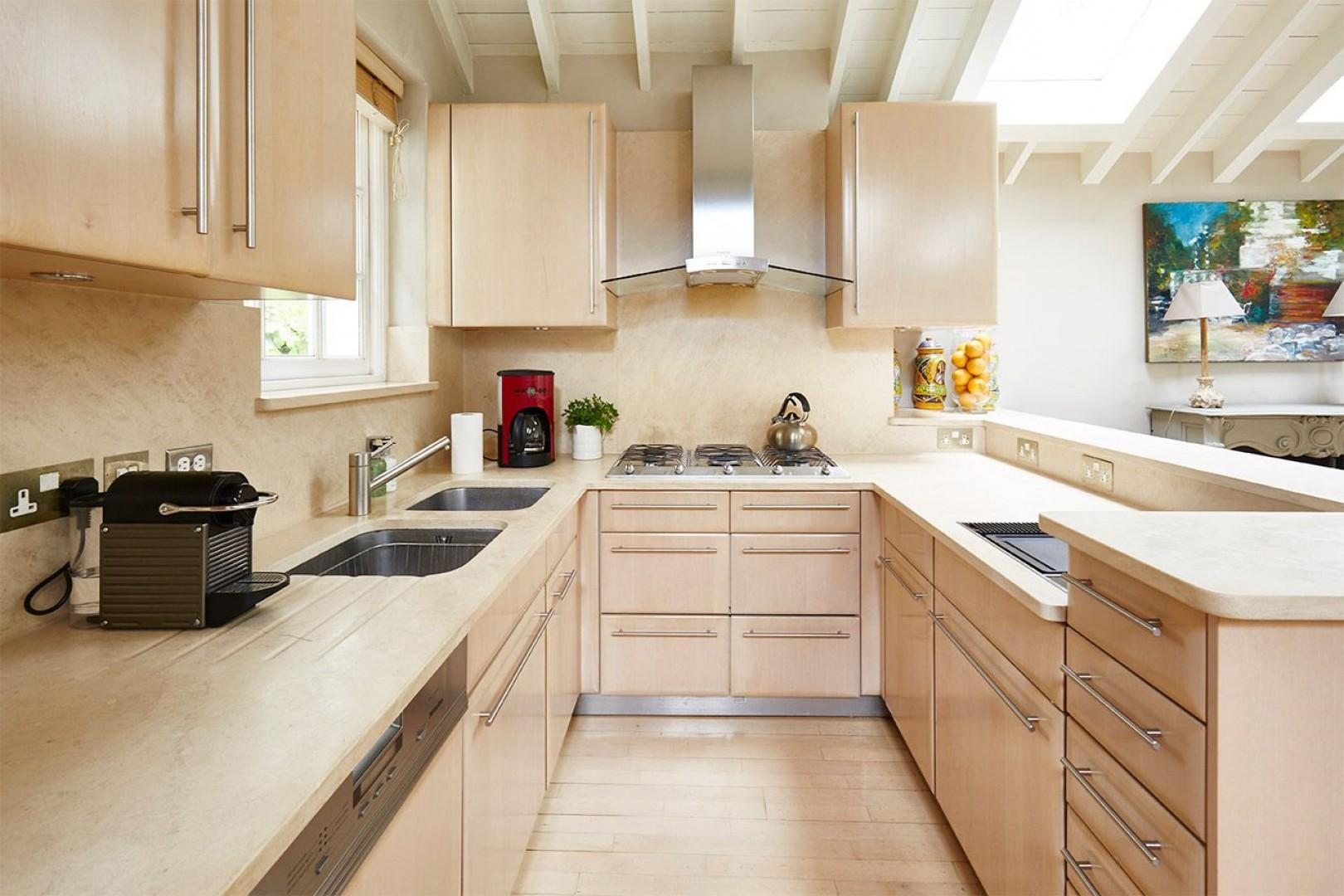 Large kitchen is fully equipped with everything you need