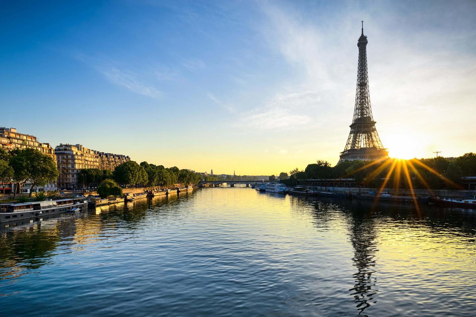 Eiffel Tower Seine River at sunset