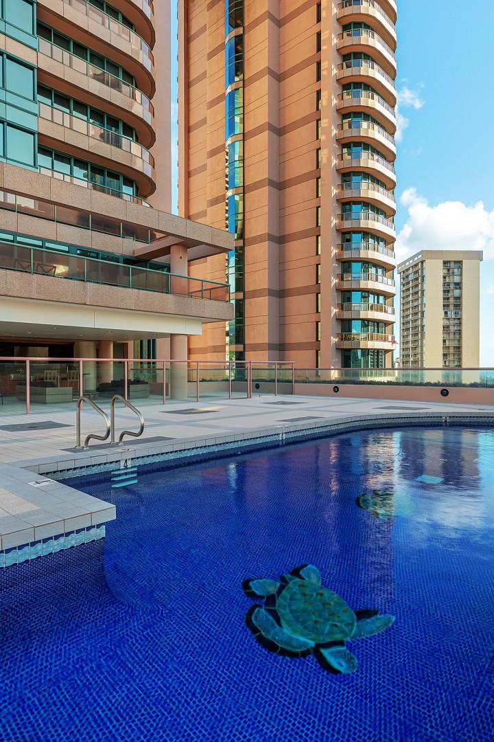 Lap Pool on 15th Floor Roof Top with Sweeping Ocean and Mountain Views