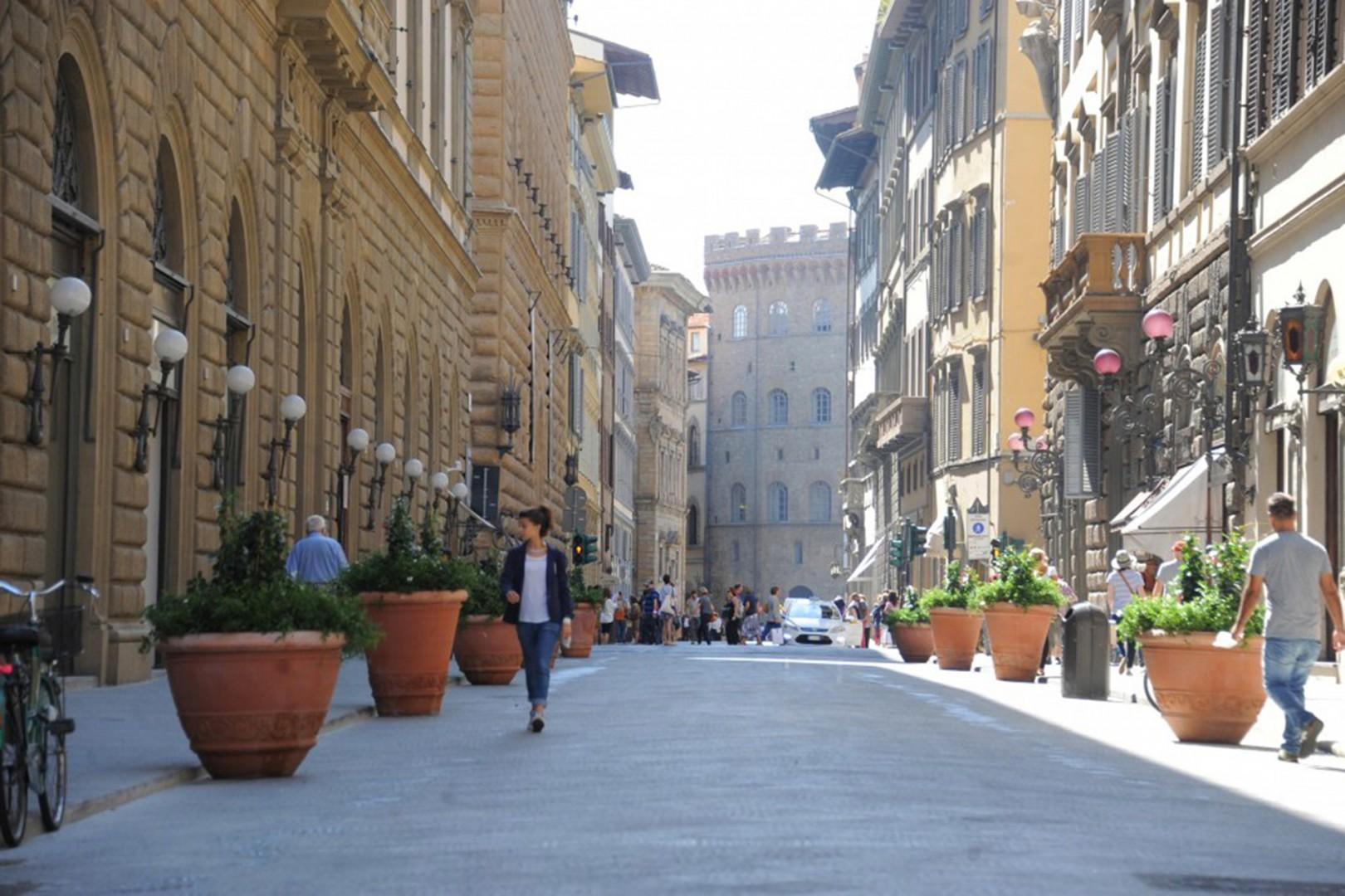 Via Tornabuoni is one of Florence's best shopping streets with some interesting food, too. Pedestrian street.