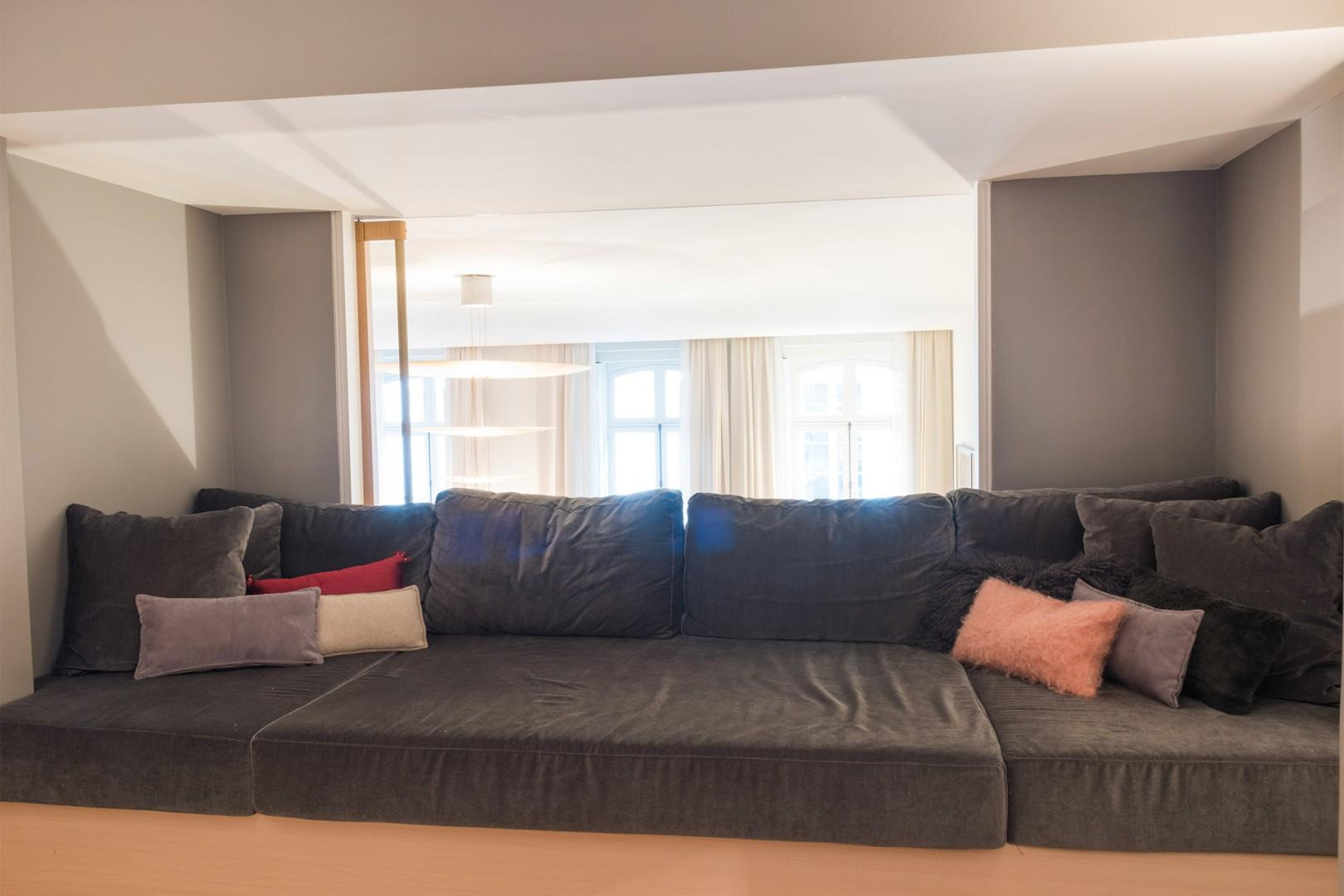 You will love the comfy built-in sofa.