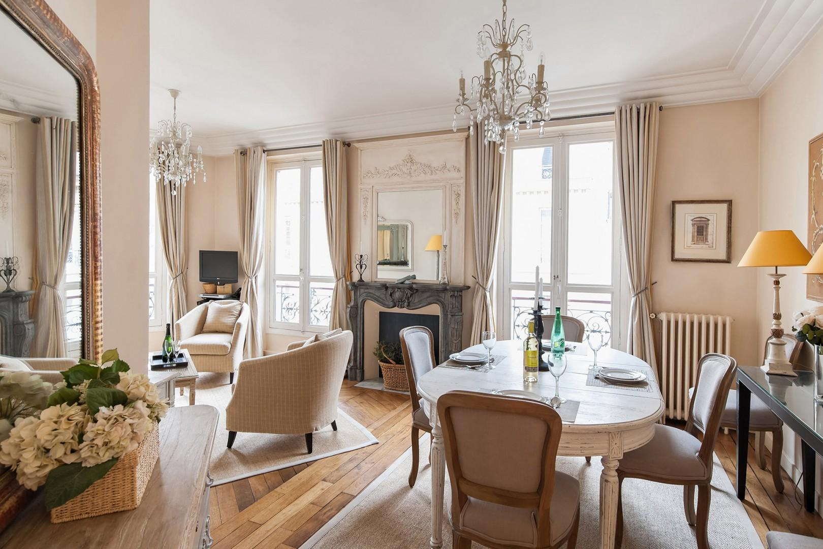 Step into the elegant living and dining room.