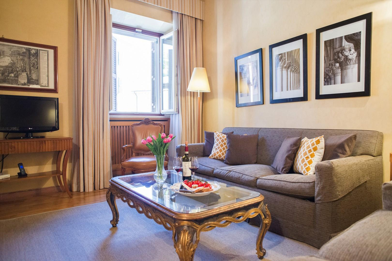 The Pasquino apartment living room is a great gathering place.