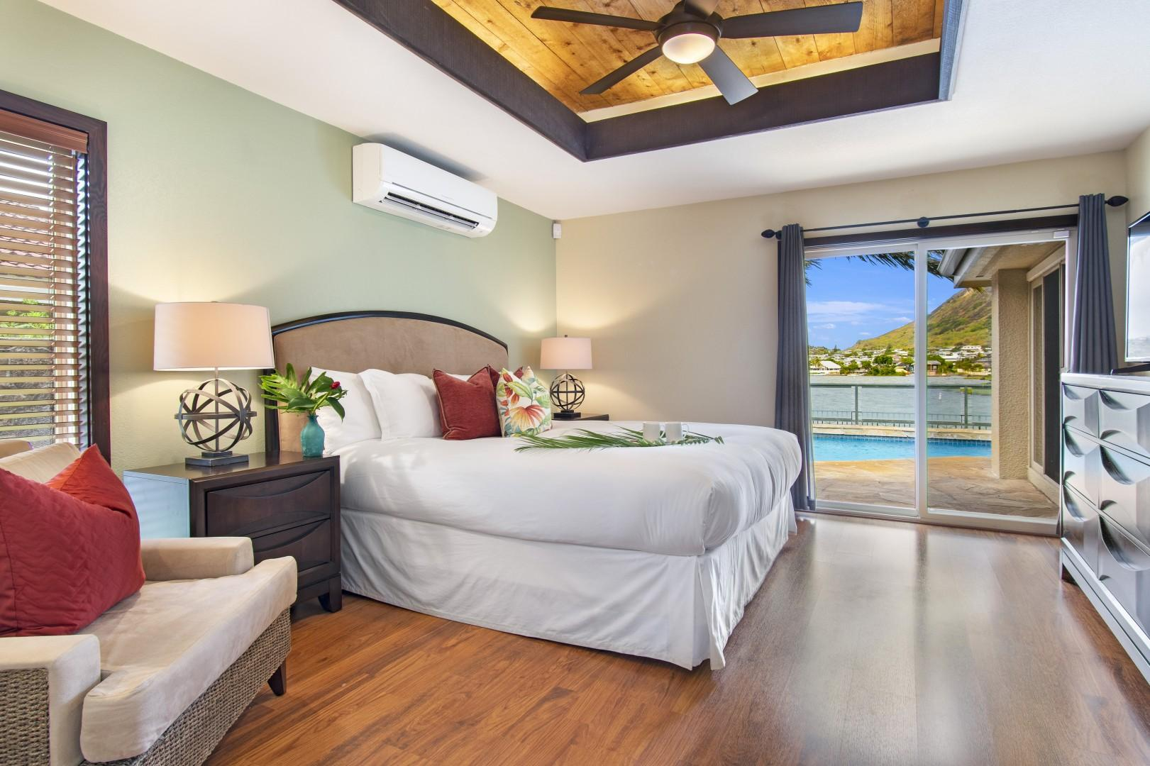 Master bedroom with ensuite with marina views
