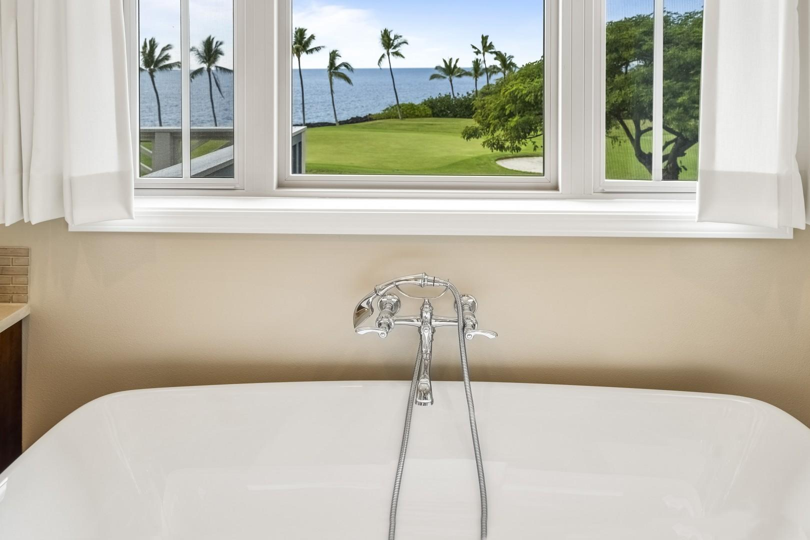 Take in the ocean views from the large soaking tub!