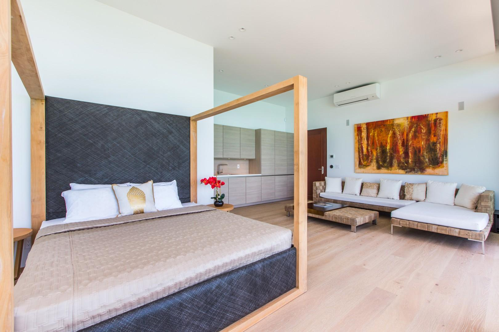 Downstairs separate guest bedroom 5 with pool and ocean views