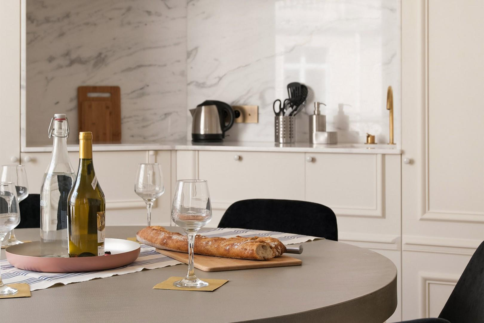 The charming dining table is perfect for casual meals.