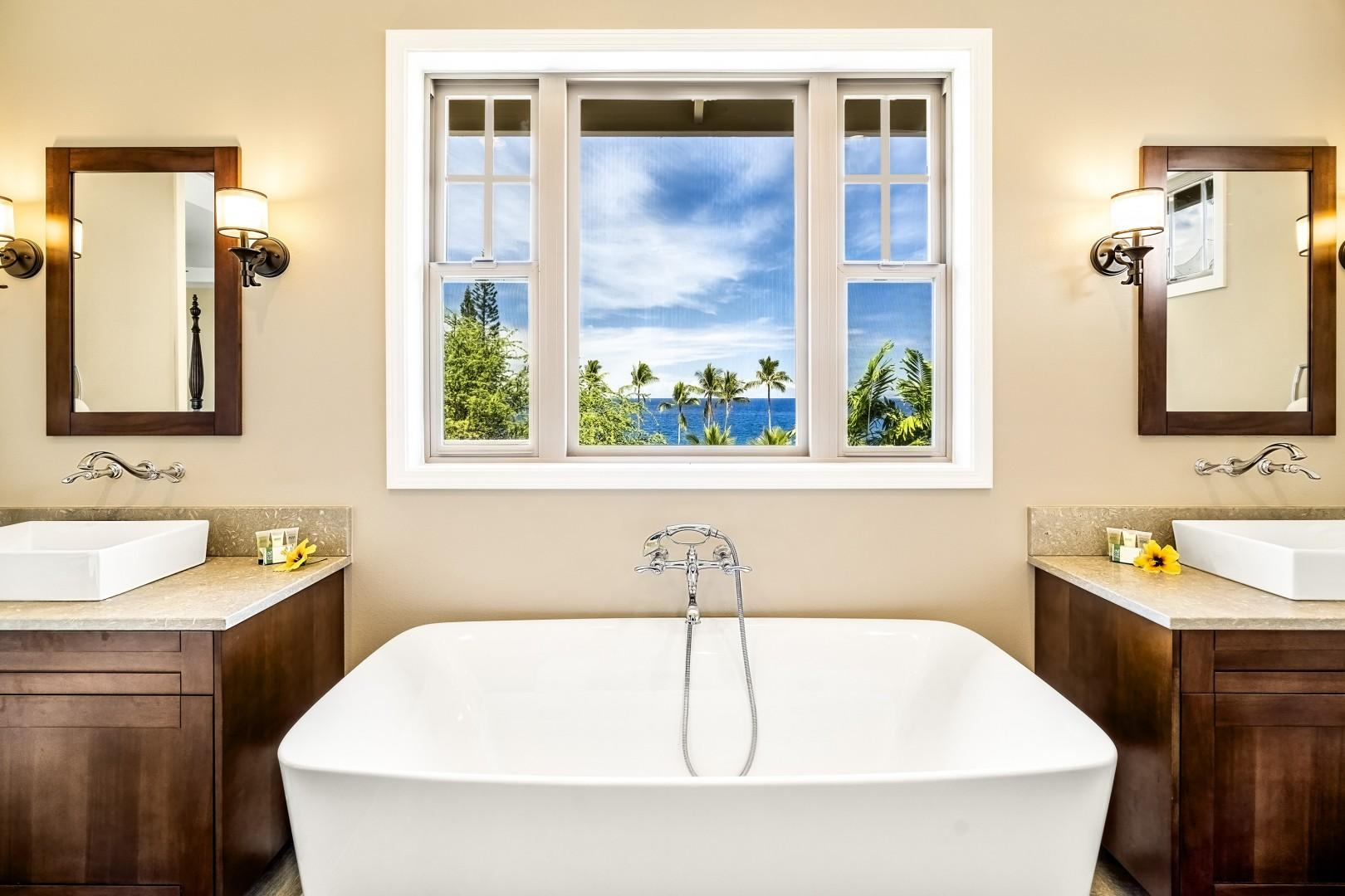Soak in the tub while taking in the views!