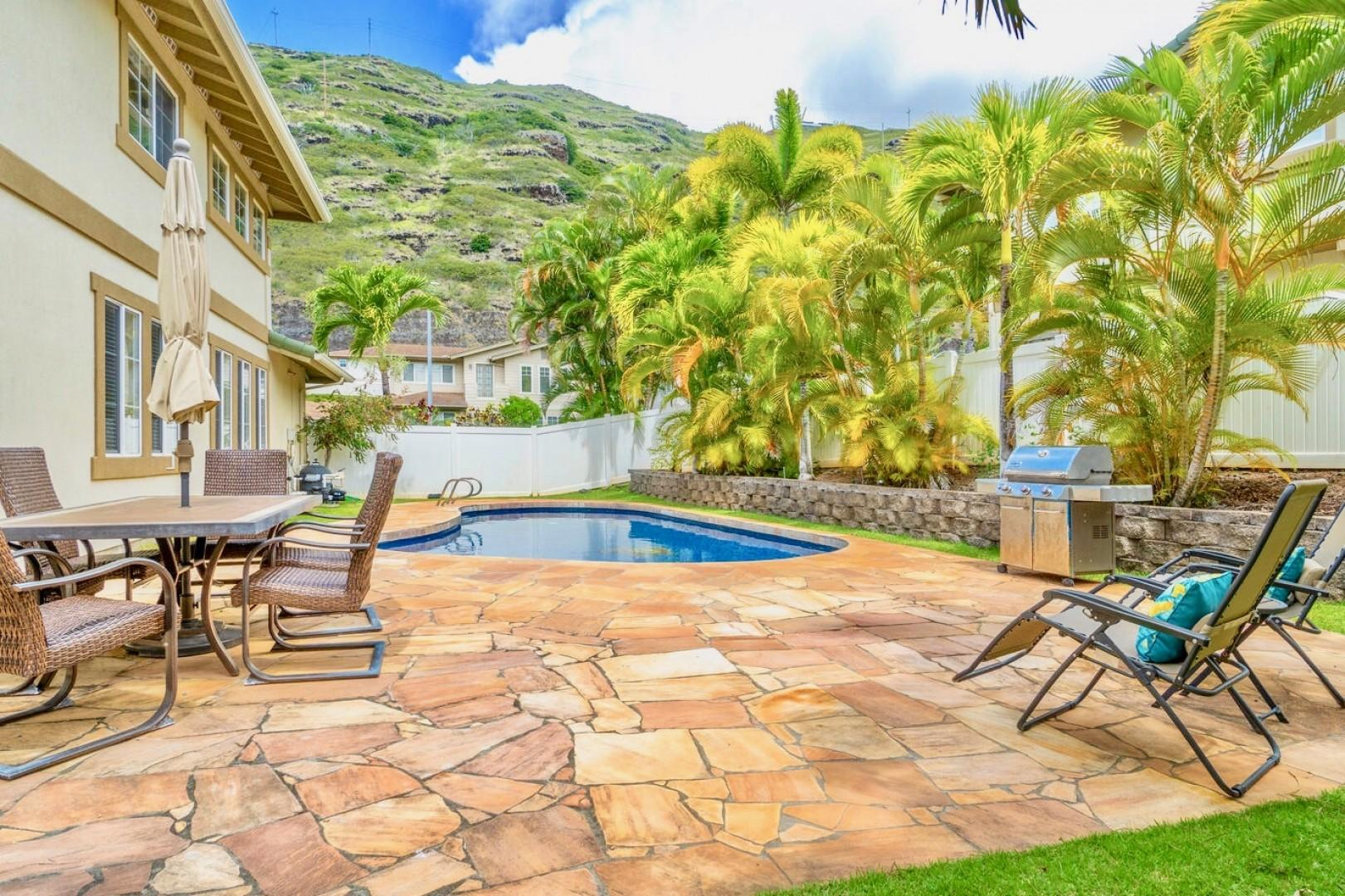 Pool deck with large private saltwater pool