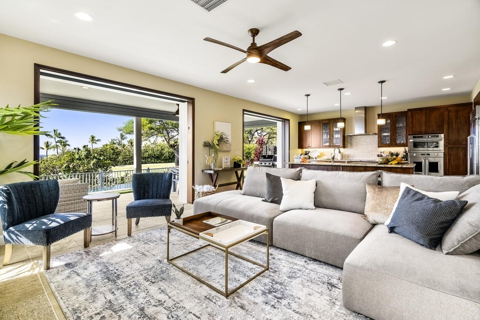 Open the large sliding doors to embrace the Hawaiian climate