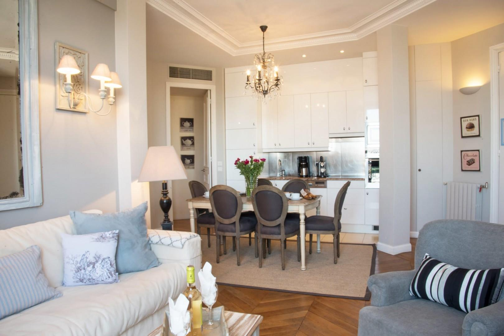 The open-plan living and dining area is perfect for families.