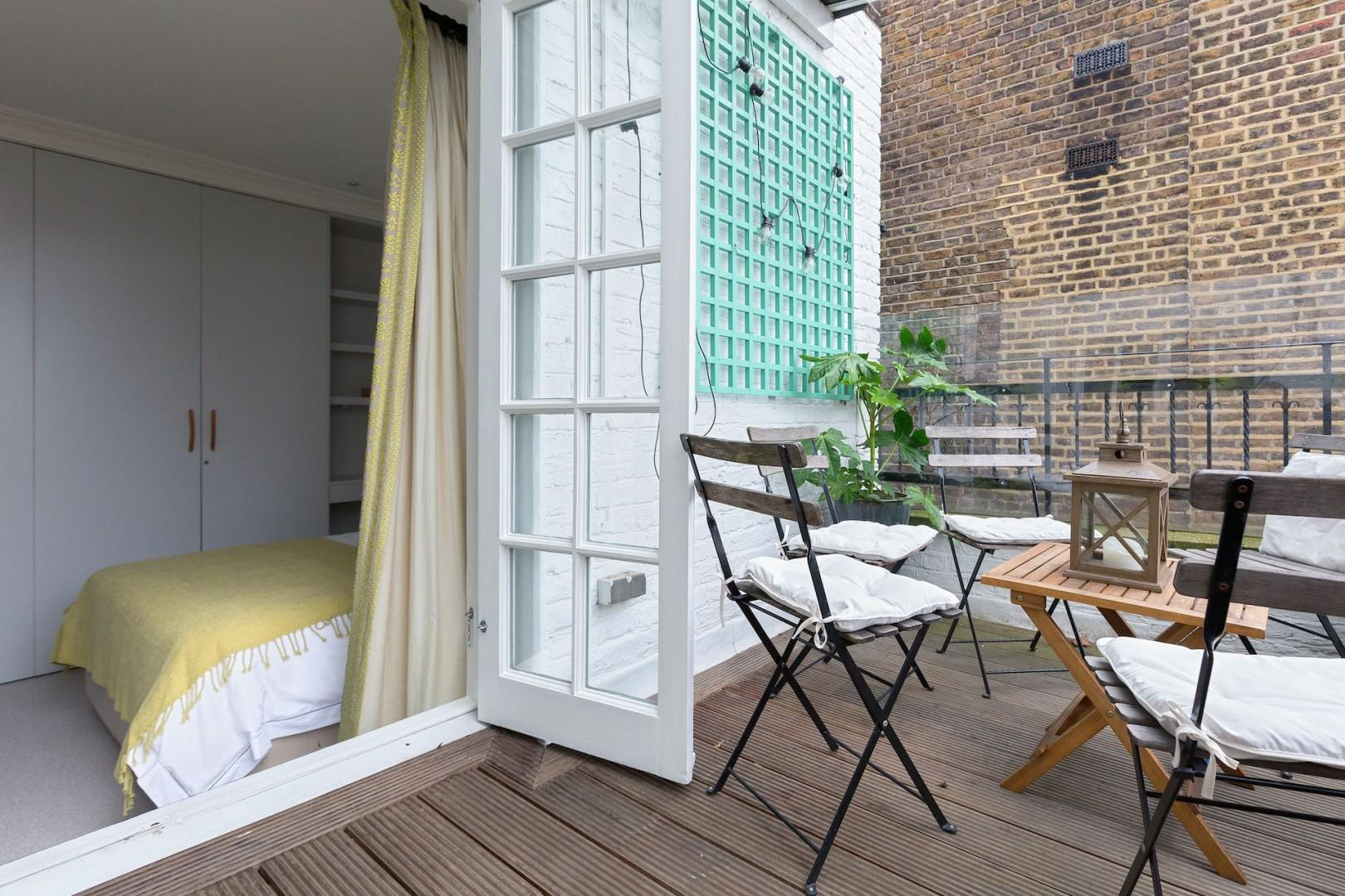 Wrap around balcony connects to the second bedroom