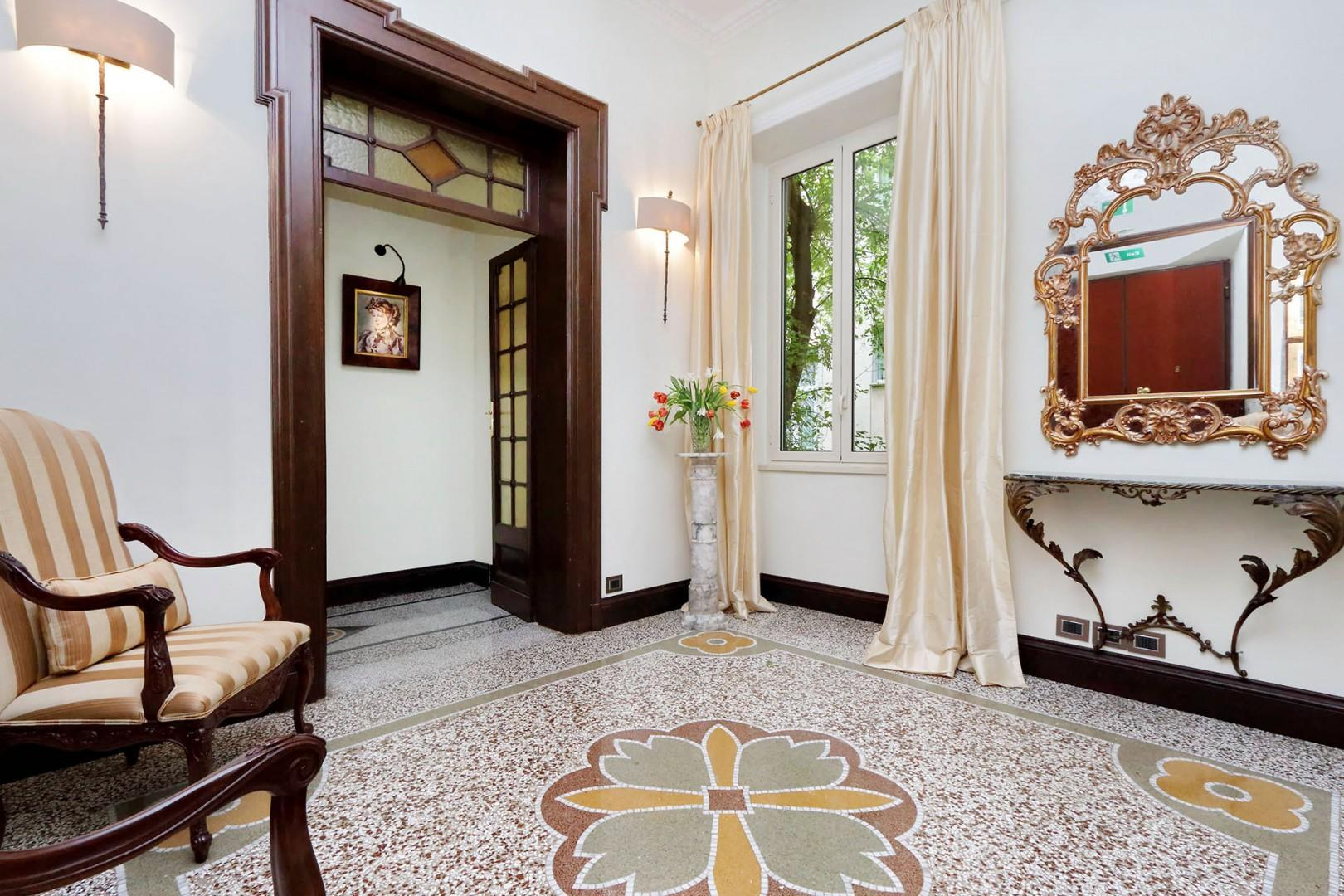 The apartment's gracious entry foyer welcomes you to this spacious, luxury apartment.