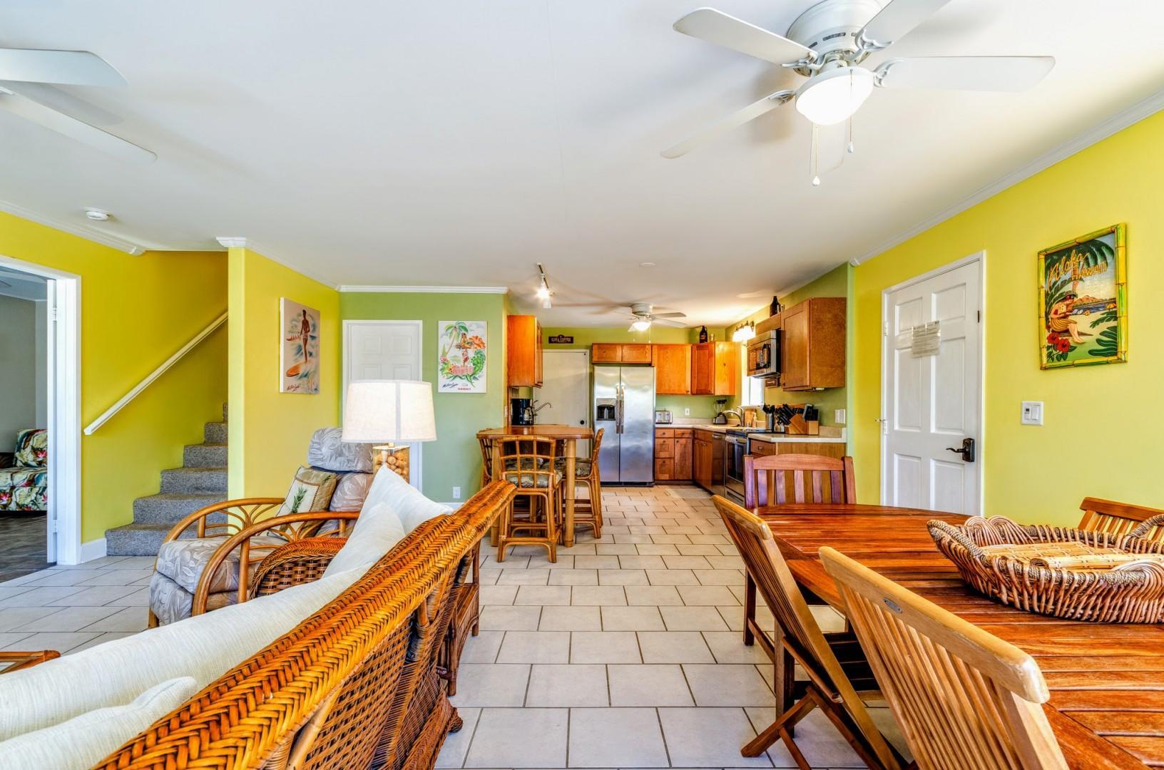 Open sightlines between the living room and kitchen