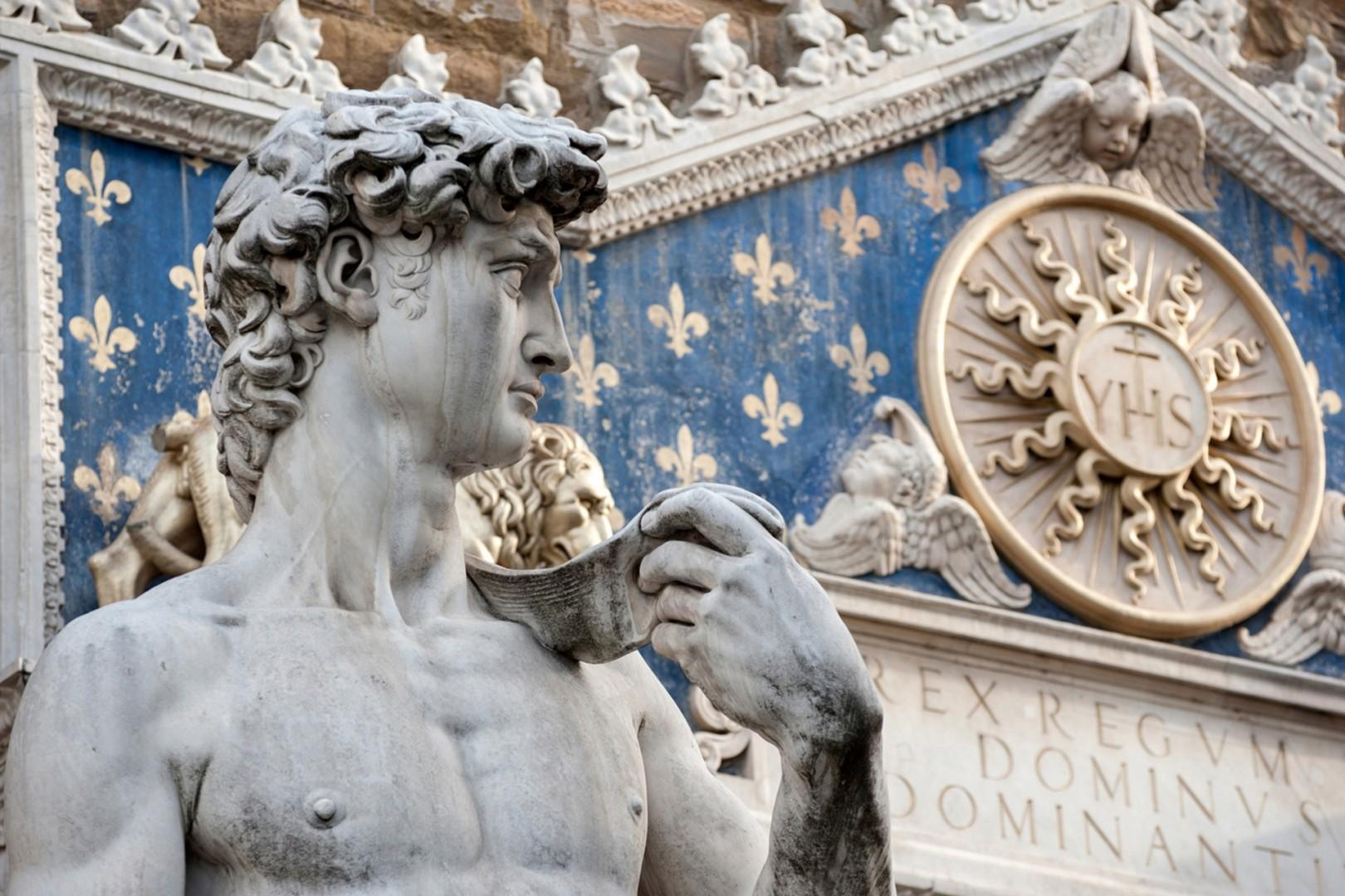 Michelangelo's David reigns over Piazza della Signoria. This copy asserts Florence as the _little guy_ standing up to the giant France.