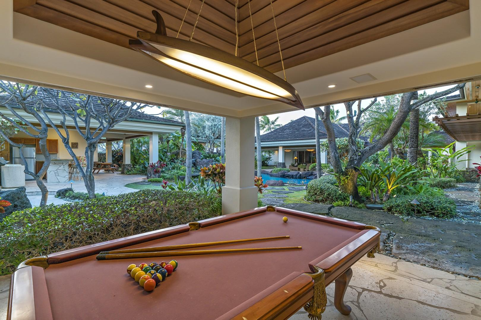 Guest house: Billiard room with slider doors to fully open to the inside courtyard.