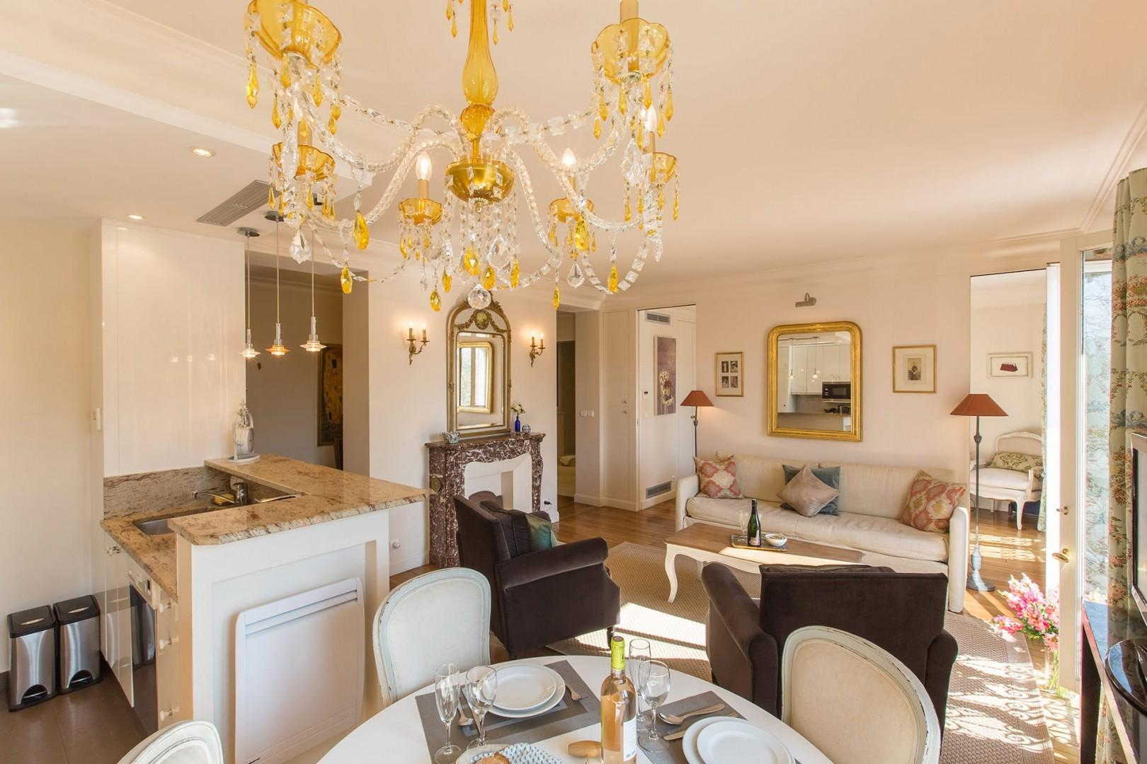 The open-plan dining room and kitchen are great for entertaining.