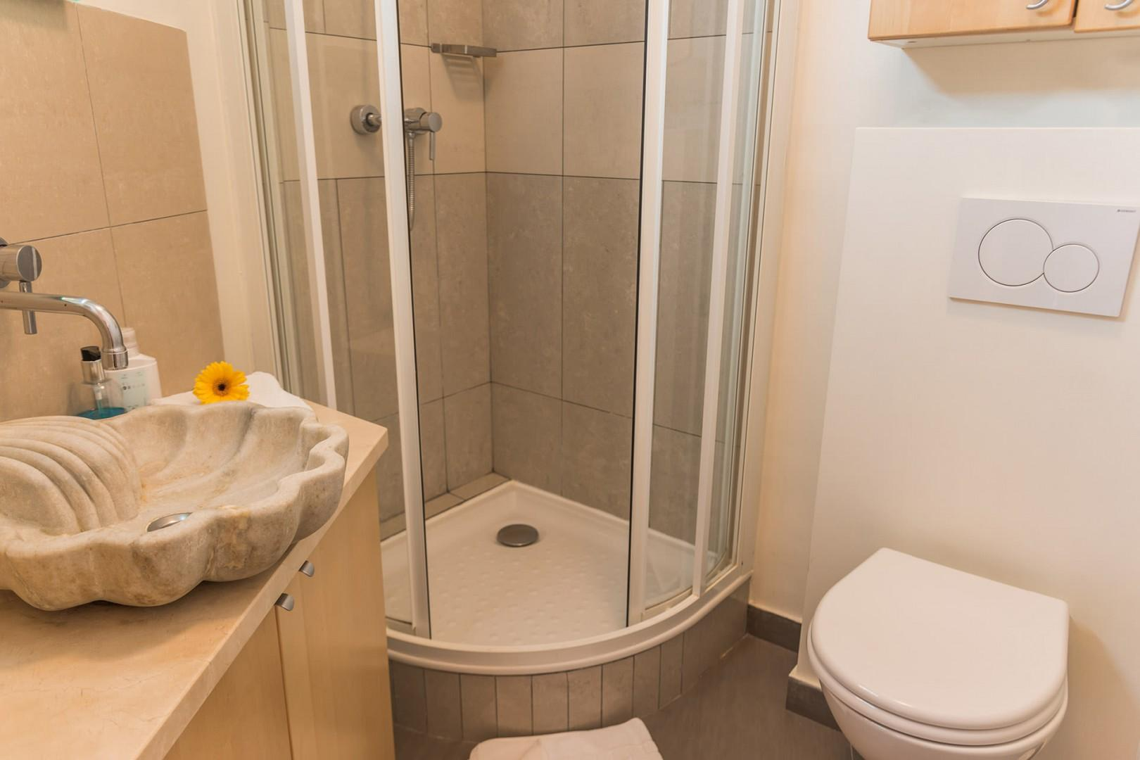 The modern bathroom features a shower, toilet and sink.