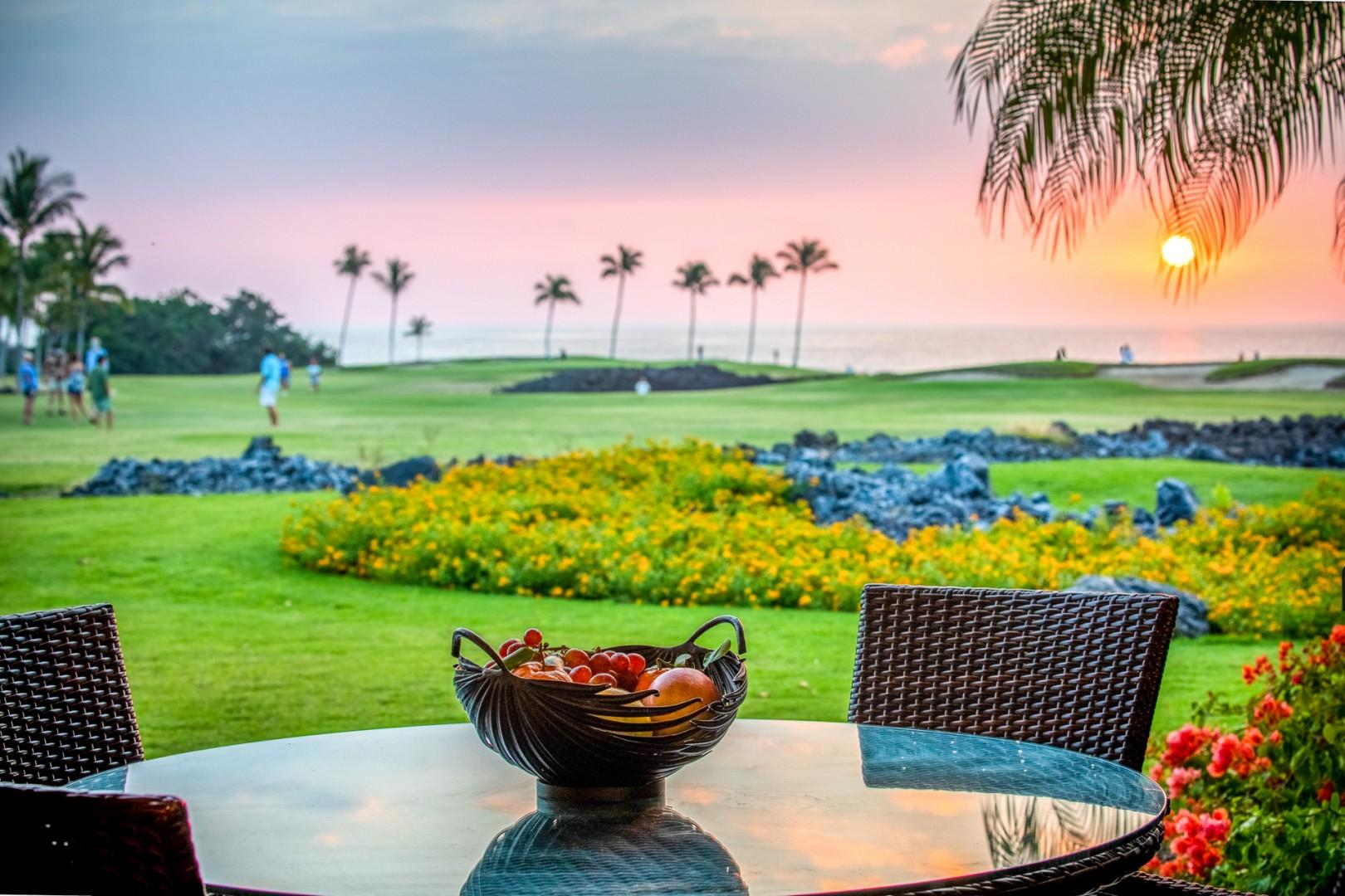 Enjoy gorgeous sunsets over the ocean year round from your lanai.