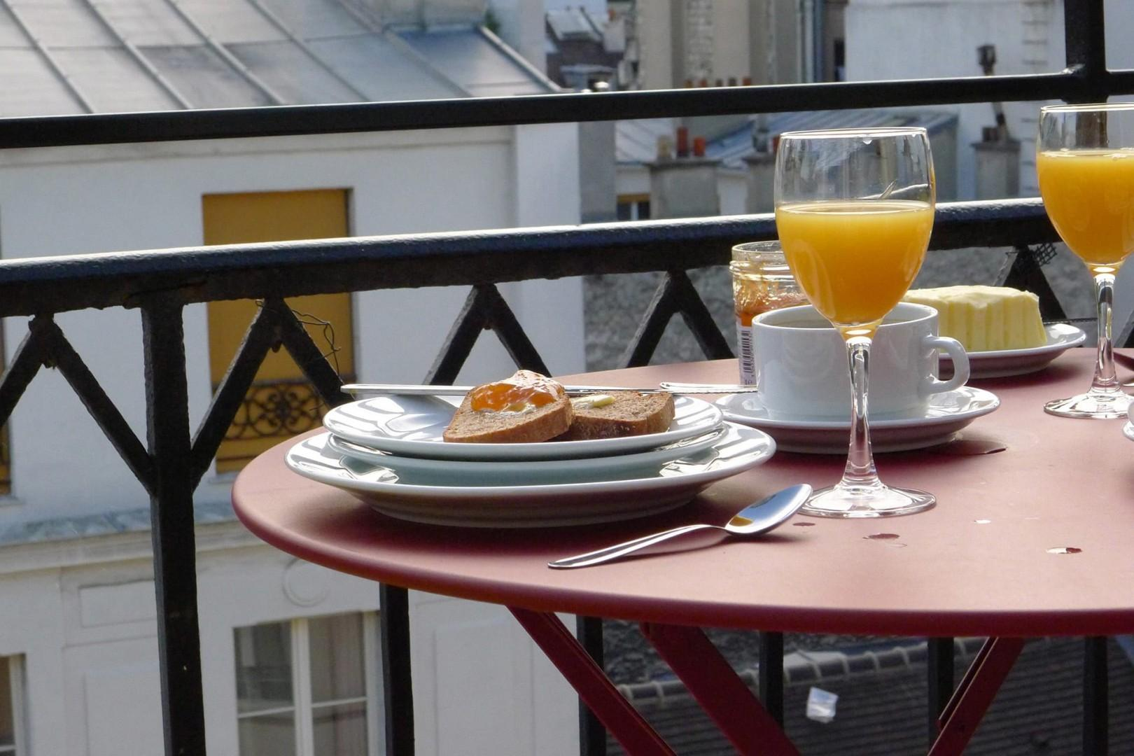 The balcony is the perfect spot for breakfast!