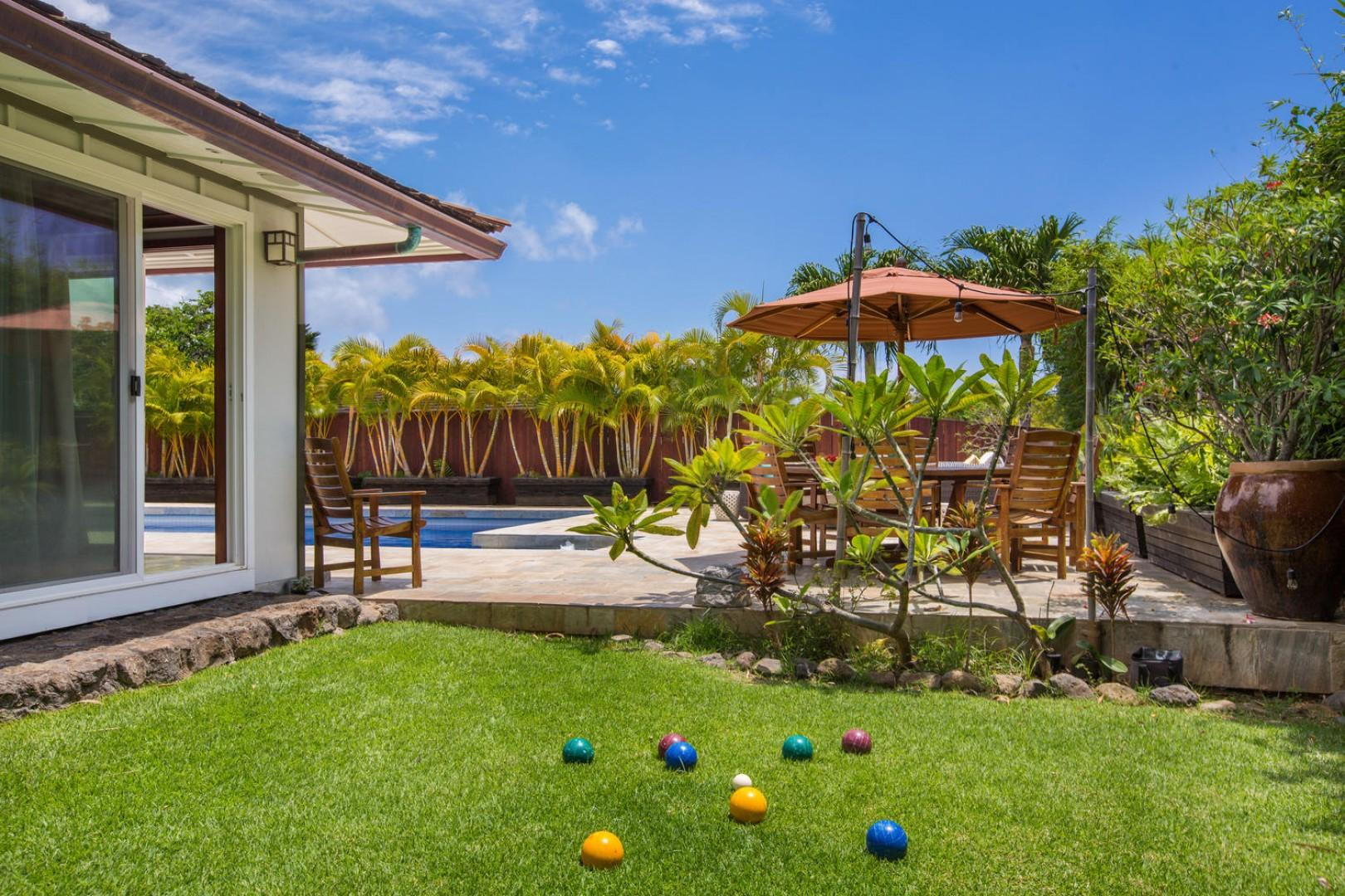 Right outside the first-floor master bedroom, play bocce ball, swim, and enjoy yourself!