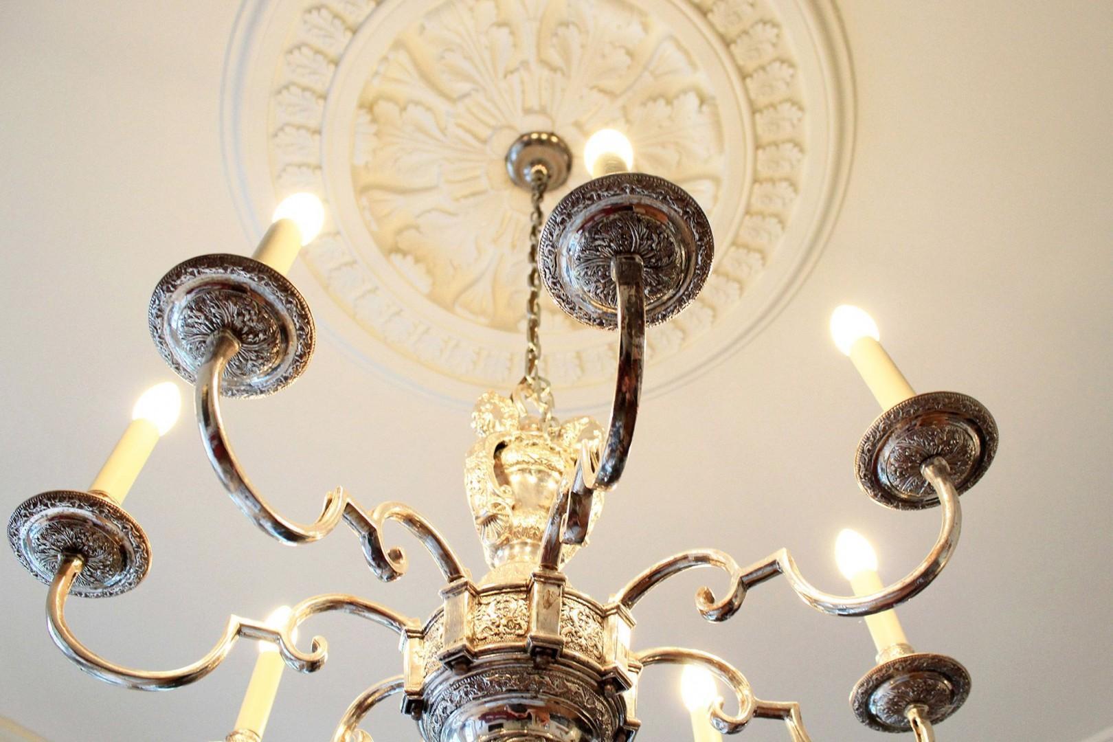 Beautiful antique chandelier in living room