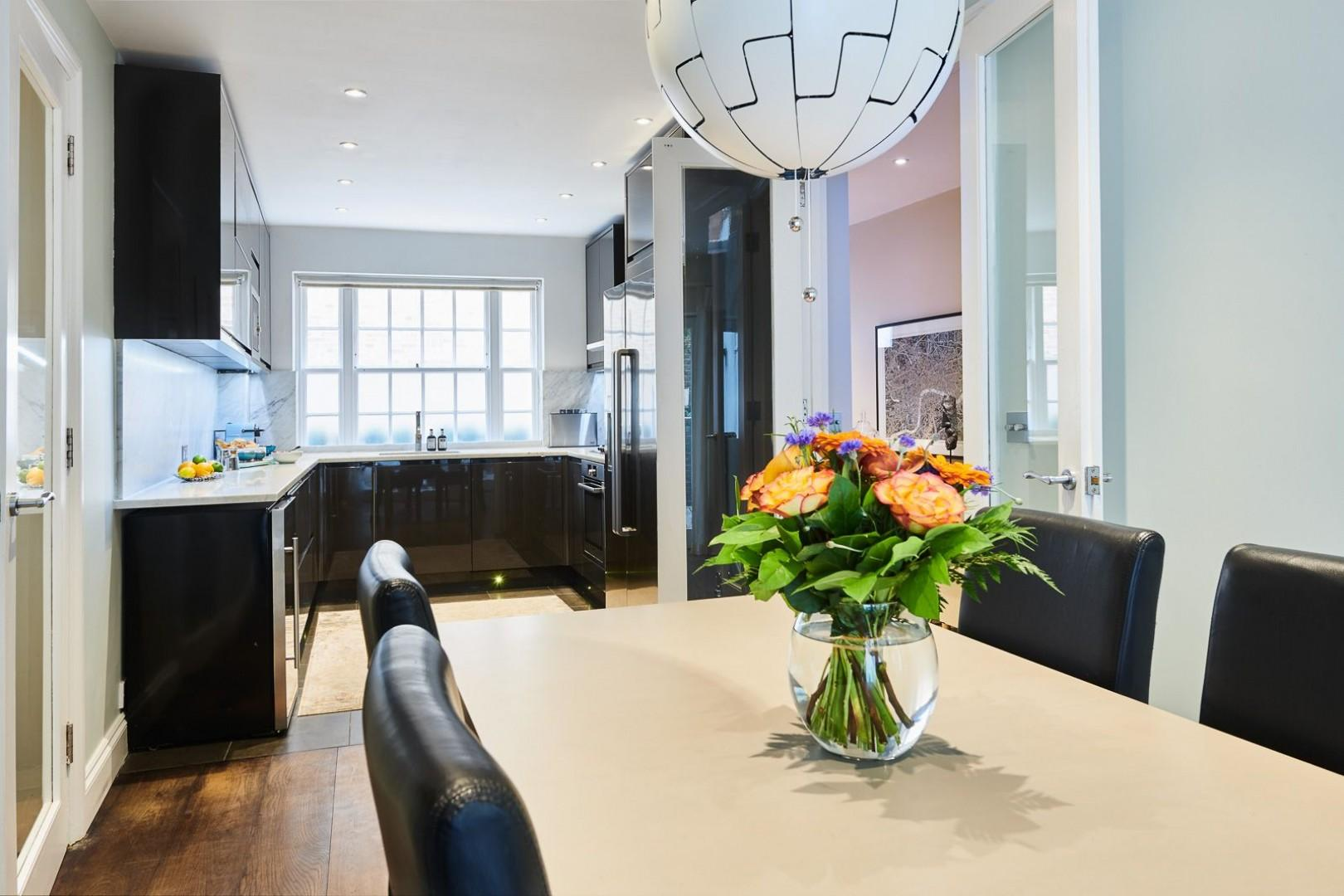 Dining room has enough room for five guests