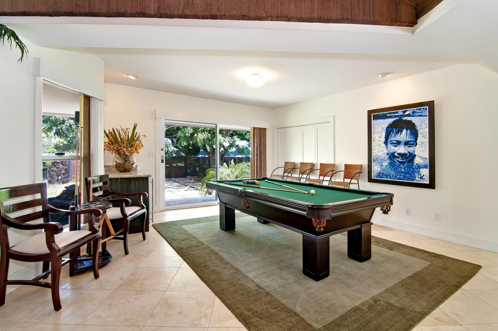 Game Area with Pool Table Convertible to a Ping Pong Table