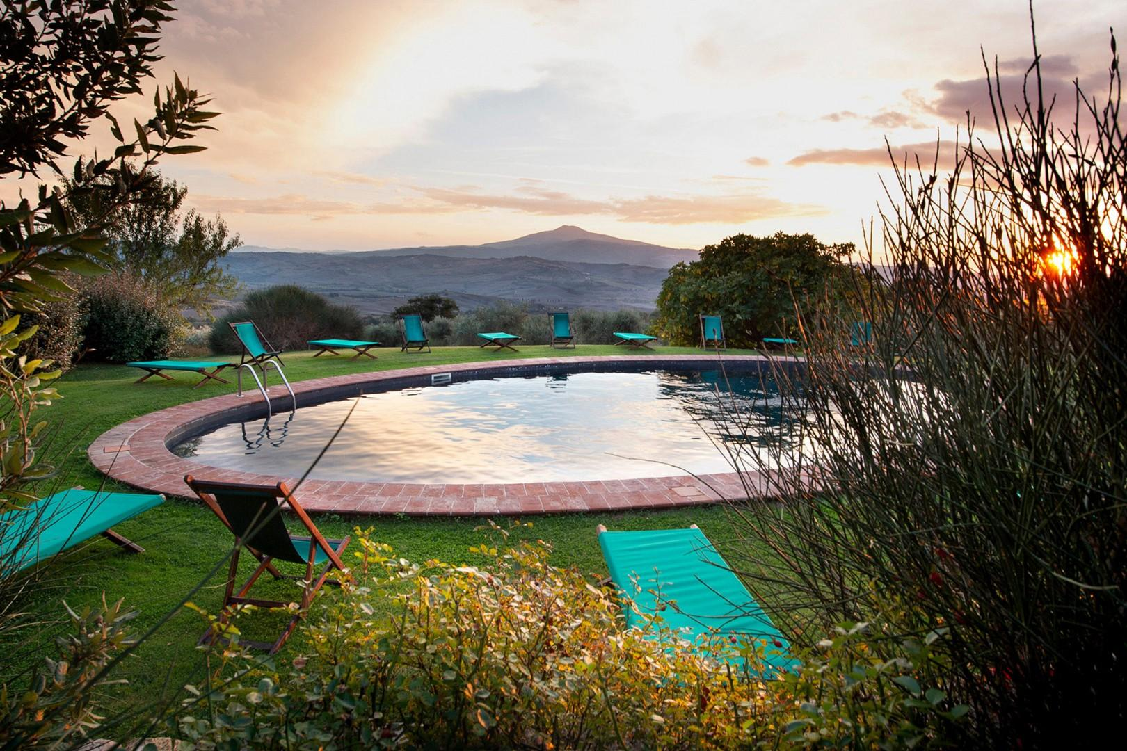 Spectacular views from the shared swimming pool. Pool is open during summer months.