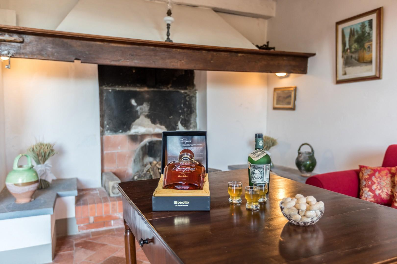 There is a second living room, with fireplace, on the ground entry level of the villa.