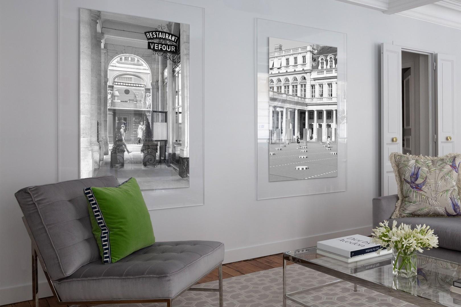 Parisian-inspired artwork by the owner in the living room